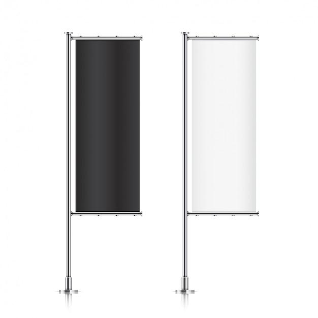 Vlag. banner vlag sjablonen. set reclame vlaggen. zwart-wit lege verticale vlaggen. realistische afbeelding.
