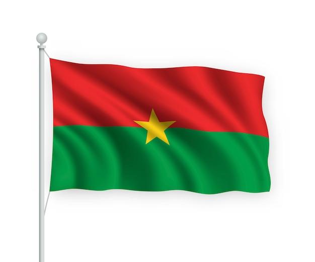 Vlag burkina faso op vlaggenmast geïsoleerd op wit