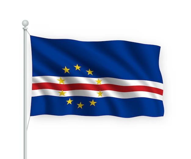 Vlag cabo verde op vlaggenmast geïsoleerd op wit