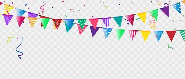 Vlag confetti partij kleurrijke viering achtergrond.