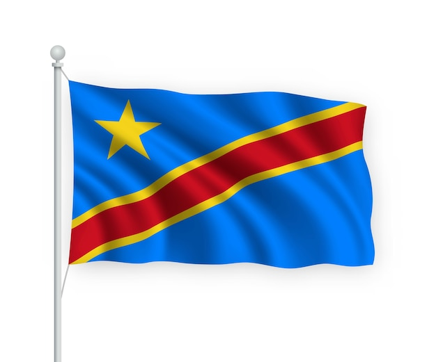 Vlag democratische republiek congo op vlaggenmast geïsoleerd op wit