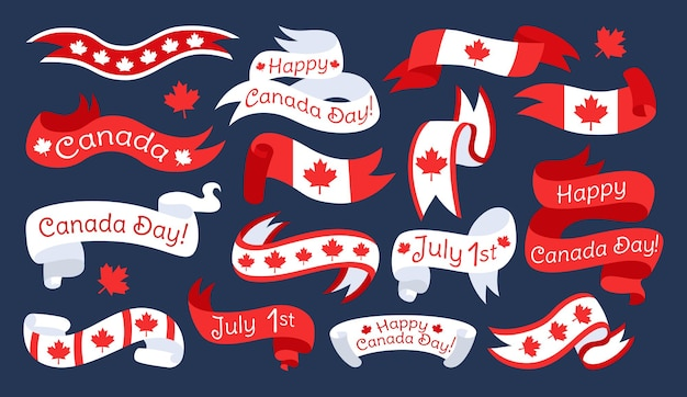 Vlag en lint happy canada day flat set, canadese tape band met esdoornblad