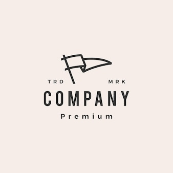 Vlag hipster vintage logo sjabloon