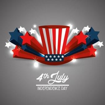 Vlag hoed viering onafhankelijkheidsdag