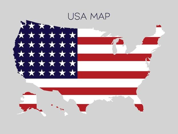 Vlag in kaart van de vs vectorillustratie.