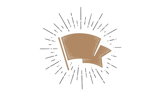 Vlag. old school lint vlag, sjabloon voor spandoek voor tekst. lintvlag in vintage stijl met lineaire tekening van lichtstralen, zonnestraal en zonnestralen. hand getekend ontwerpelement.