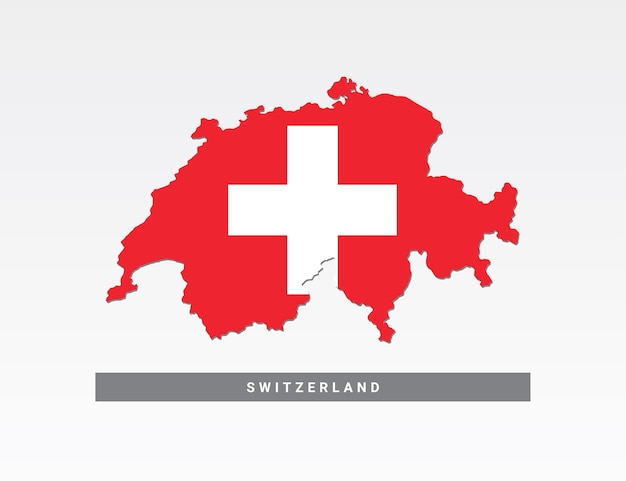 Vlag op de kaart van zwitserland