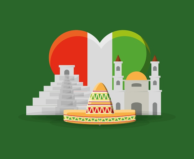 Vlag op mexico in hartvorm en mexicaanse gebouwen en hoed over groene achtergrond