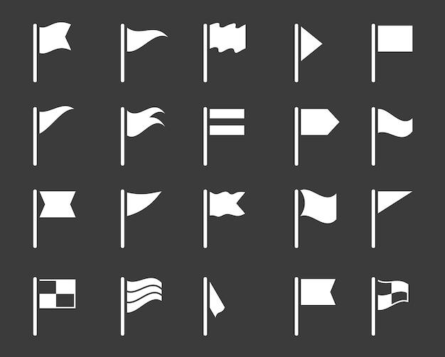 Vlag pictogrammen. gps-kaart markering zwarte elementen wimpel borden.