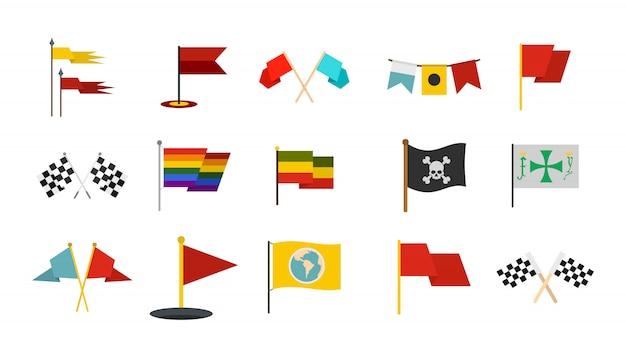 Vlag pictogramserie. platte set van vlag vector iconen collectie geïsoleerd