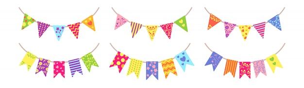 Vlag slinger bunting party set. kleurrijke buntings wimpels voor viering, festival. verjaardag hangende vlaggen partij, cartoon platte collectie. decoratie vakantie verrassing. geïsoleerde illustratie
