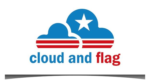 Vlag ster wolk logo ontwerp