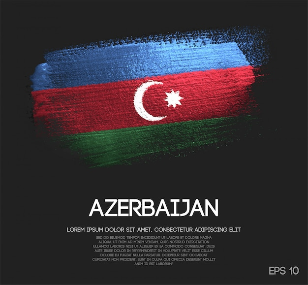 Vlag van azerbeidzjan van glitter sparkle brush verf vector gemaakt
