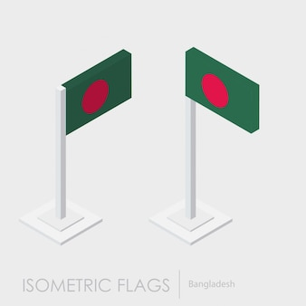 Vlag van bangladesh 3d isometrische stijl