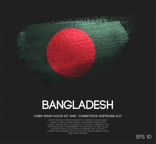 Vlag van bangladesh gemaakt van glitter sparkle brush verf vector