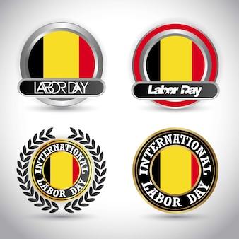 Vlag van belgië met arbeidsdag ontwerp vector