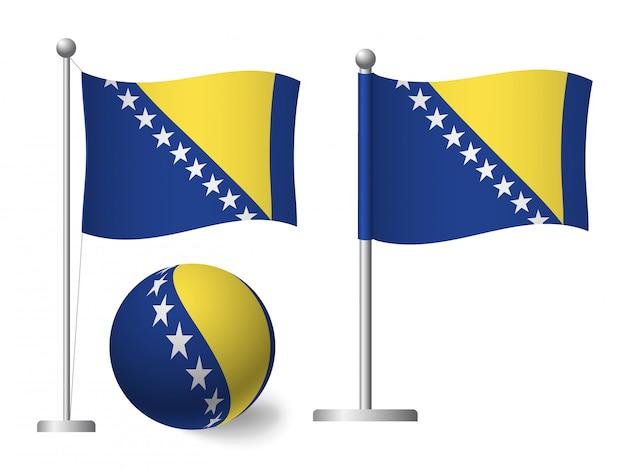 Vlag van bosnië en herzegovina op paal en bal pictogram