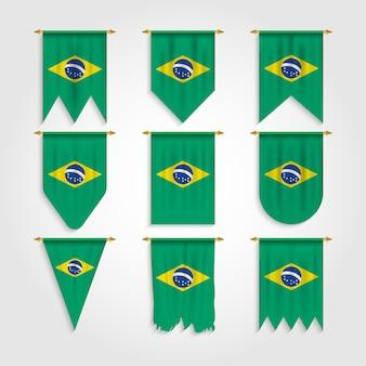 Vlag van brazilië in verschillende vormen