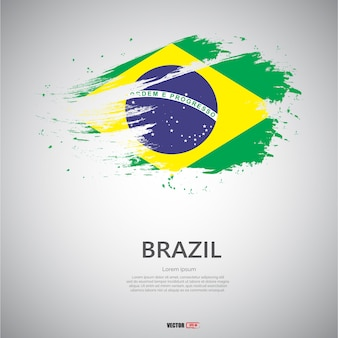 Vlag van brazilië met penseelstreek.