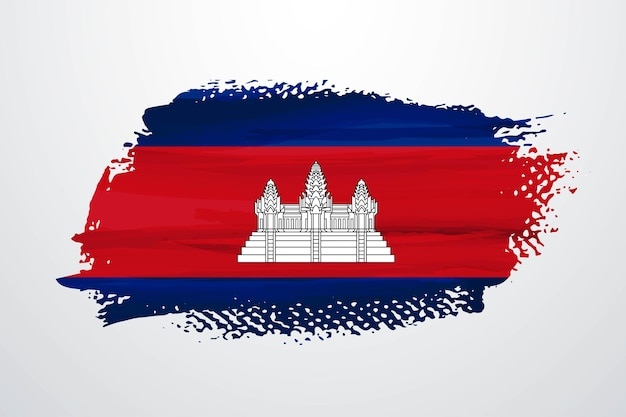 Vlag van cambodja brush paint