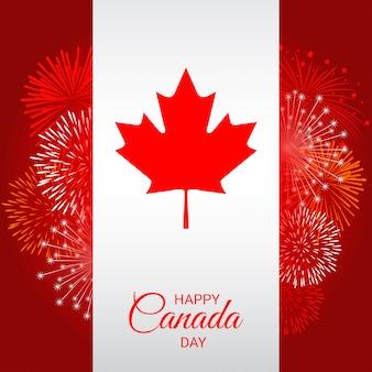 Vlag van canada met vuurwerk voor de nationale dag van canada