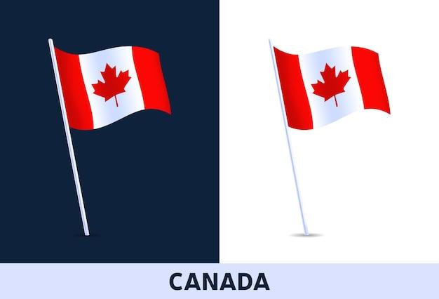 Vlag van canada. wapperende nationale vlag van italië geïsoleerd op witte en donkere achtergrond. officiële kleuren en aandeel van de vlag. illustratie.