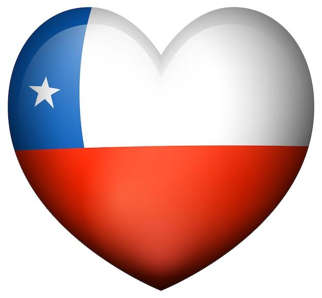 Vlag van chili in hartvorm