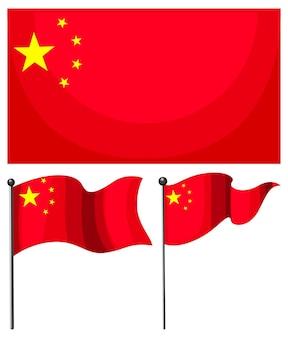 Vlag van china in verschillende vormen geïsoleerd