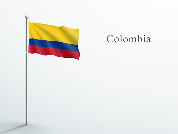 Vlag van colombia 3d-element zwaaien op stalen vlaggenmast