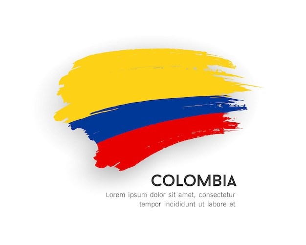 Vlag van colombia vector penseelstreek ontwerp geïsoleerd op een witte achtergrond afbeelding