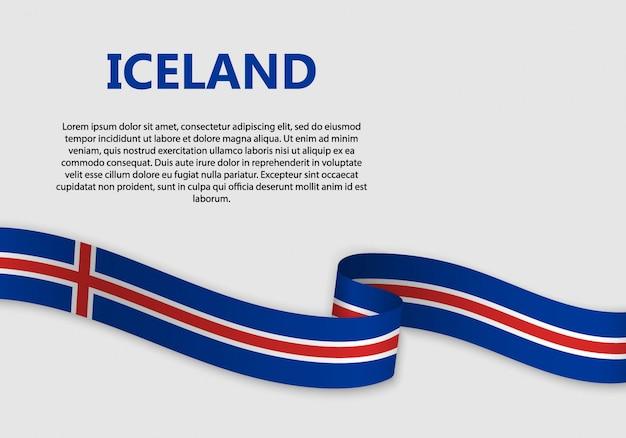 Vlag van de banner van ijsland zwaaien
