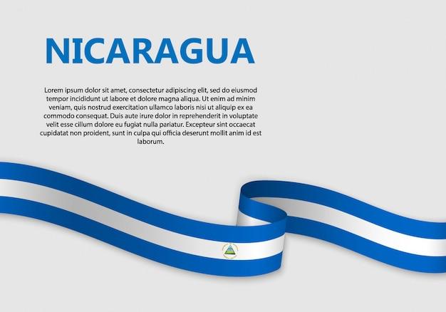 Vlag van de banner van nicaragua zwaaien