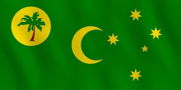 Vlag van de cocoseilanden met golvend effect, officiële verhouding.