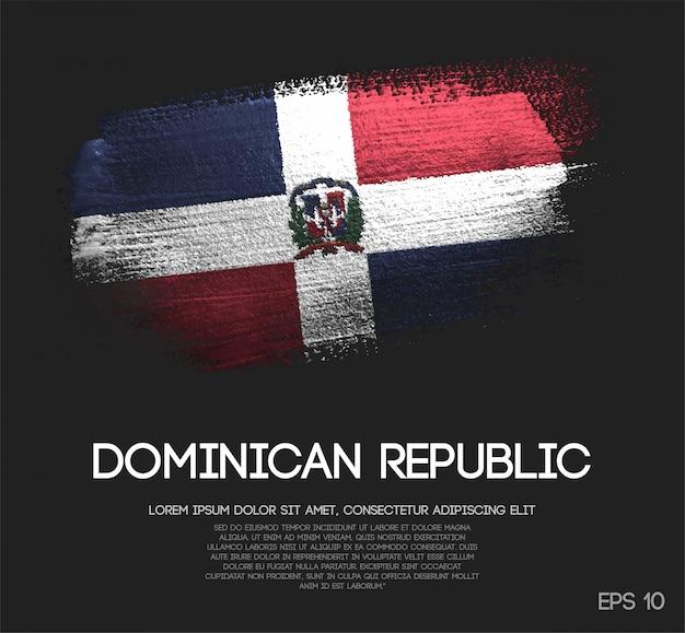 Vlag van de dominicaanse republiek gemaakt van glitter sparkle brush paint