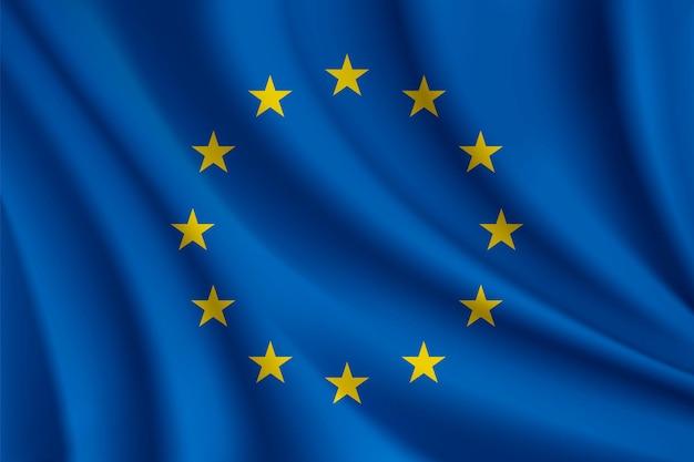 Vlag van de europese unie realistische afbeelding