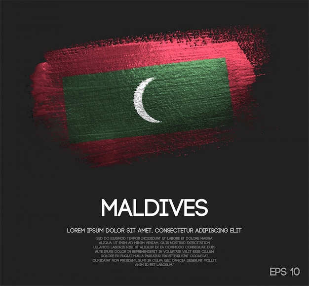 Vlag van de maldiven gemaakt van glitter sparkle brush paint