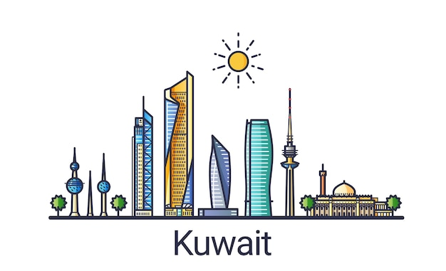 Vlag van de skyline van de stad koeweit in vlakke lijn trendy stijl. koeweit-stad lijntekeningen. alle gebouwen zijn gescheiden en aanpasbaar.