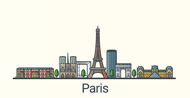 Vlag van de stad parijs in vlakke lijn trendy stijl. alle gebouwen zijn gescheiden en aanpasbaar. lijn kunst.