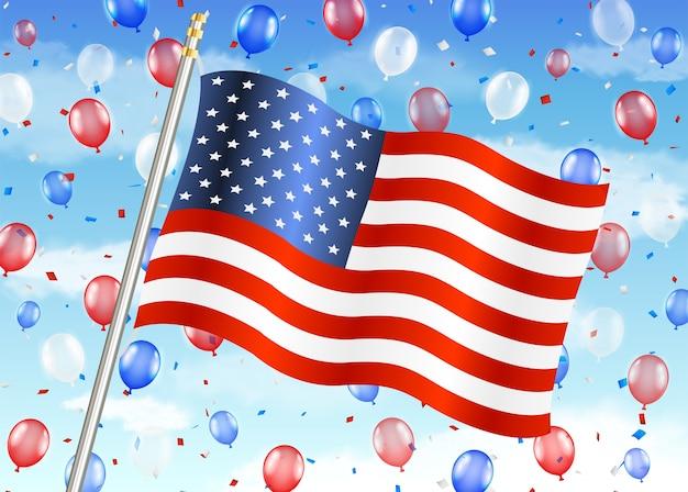 Vlag van de verenigde staten van amerika met ballon op sky