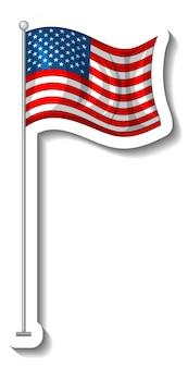 Vlag van de verenigde staten van amerika met geïsoleerde paal Gratis Vector