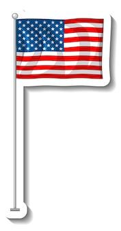 Vlag van de verenigde staten van amerika met geïsoleerde paal