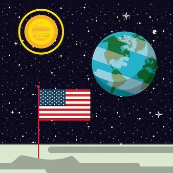 Vlag van de vs genageld in de maan