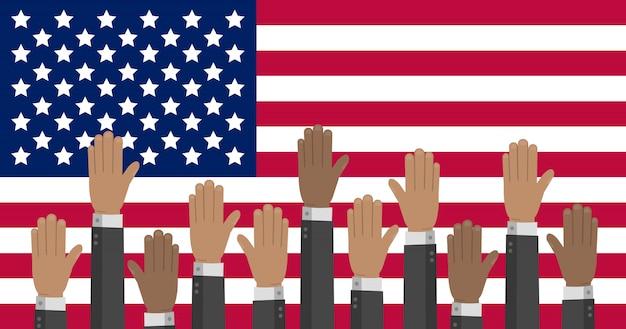 Vlag van de vs met handen in verschillende kleuren die omhoog reiken. de amerikaanse presidentsverkiezingen illustratie.