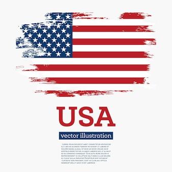 Vlag van de vs met penseelstreken. vectorillustratie.