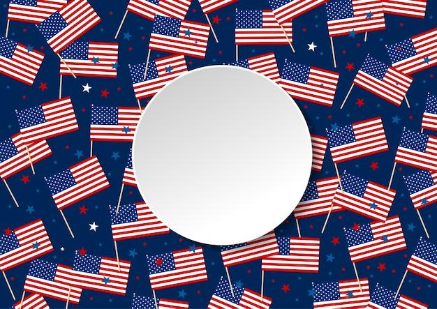 Vlag van de vs of amerika en ster geïsoleerd op blauwe achtergrond met kopie ruimte