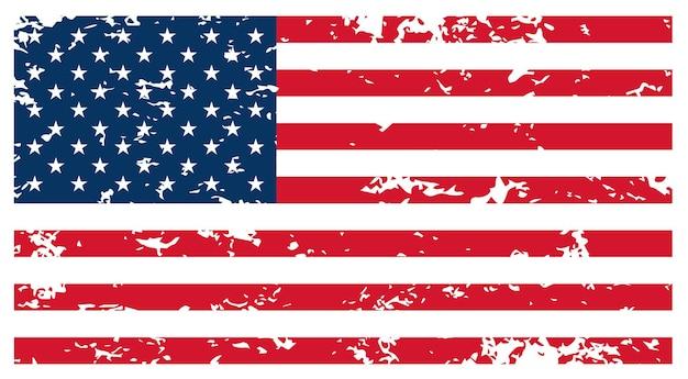 Vlag van de vs - originele kleuren en verhoudingen. armoedige vlag vectorillustratie eps-10.