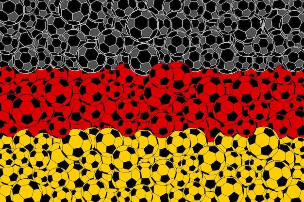 Vlag van duitsland, bestaande uit voetbalballen in zwarte, rode en gele kleuren Premium Vector