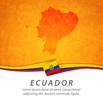 Vlag van ecuador met centrale kaart