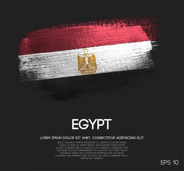 Vlag van egypte gemaakt van glitter sparkle brush paint