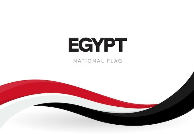 Vlag van egypte, golvend lint met kleuren van de egyptische nationale vlag